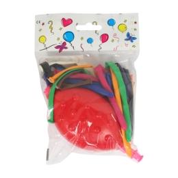 Balón modelovací, mix farieb 10 ks + pumpa