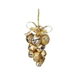 Vianočná dekorácia - hrozno z rolničiek 10cm - zlatá 1 ks