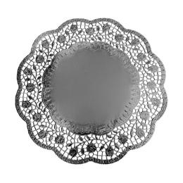 Krajky dekor. okrúhle 33 cm strieborné  (4 ks v bal.)