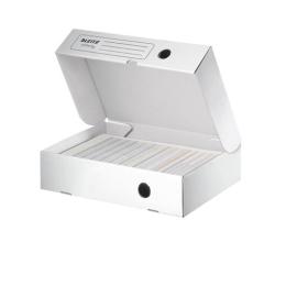 """Archívny box, A4, 80 mm, recyklovaný kartón, otváranie smerom nahor, LEITZ """"Infinity"""", bie"""