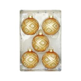 Vianočné gule - sklenené, zlaté 67 mm, set 5ks