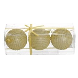 Vianočné gule - PS zlaté/glitrové 80 mm, set 3ks
