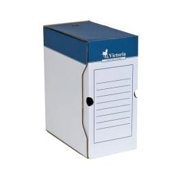 Archívny box, A4, 150 mm, kartón, VICTORIA, modrý-biely