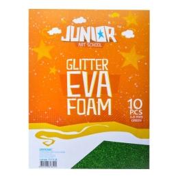 Dekoračná pena A4 EVA 10 ks zelená hrúbka 2,0 mm glitter