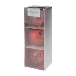 Vianočné gule - PP červené 80 mm, set 3ks