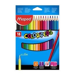 "Pastelky trojhranné MAPED ""COLOR`PEPS"", 18 ks"