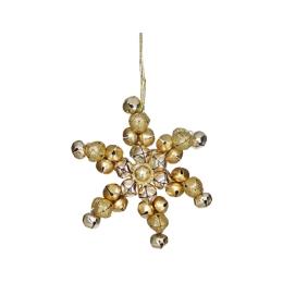 Vianočná dekorácia - vločka z rolničiek 11cm - zlatá 1 ks