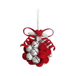 Vianočná dekorácia - červeno/strieborná guľa z rolničiek 10 cm, 1ks
