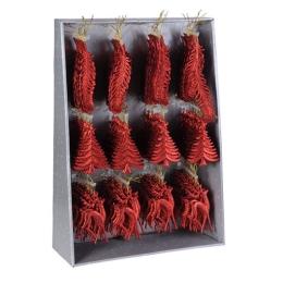 Vianočné ozdoby - PP červené rôzne tvary 16 cm, 1ks