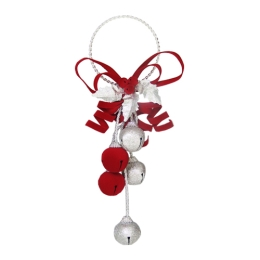Vianočná dekorácia - rolničky - červeno/strieborná 1 ks