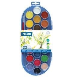 Farby vodové MILAN - 22 farieb, 30 mm