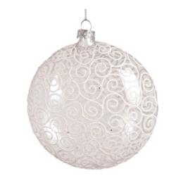 Vianočná guľa - sklenená číra 105 mm, 1ks