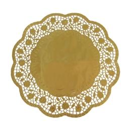 Krajky dekor. okrúhle 33 cm zlaté  (4 ks v bal.)