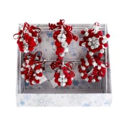 Vianočná ozdoba v stojane 9-11cm, red 16ks/mix