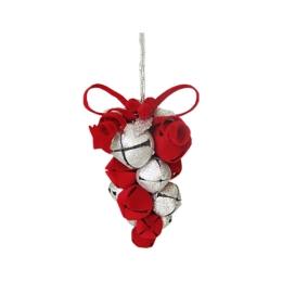 Vianočná dekorácia- hrozno z rolničiek 10cm- červená 1ks