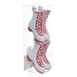Vianočné ozdoby - PP biele čižmy 80 mm, set 4ks