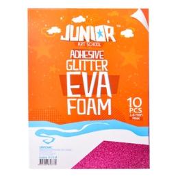 Dekoračná pena A4 EVA 10 ks ružová samolepiaca glitter 2,0 mm