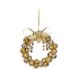Vianočná dekorácia - kruh z rolničiek 9cm - zlatá 1 ks