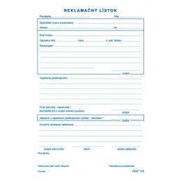 Reklamačný lístok A5, samopr. (135)