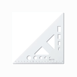 Trojuholník KOH-I-NOOR transparentný s ryskou a šablónou, 16 cm