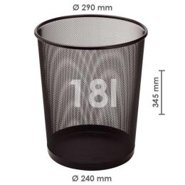 Drôtený kôš na odpadky, čierny 18 l