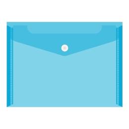 Obal PVC s patentkou priehľadný A6, modrý