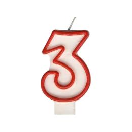 """Sviečka číslová """"3"""" 75 mm"""