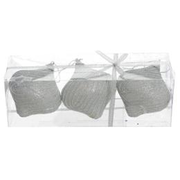 Vianočné ozdoby - PS strieborné s korálkami 9 cm, set 3ks