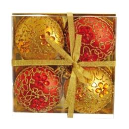 Vianočné gule - PP červeno/zlaté 100 mm - ploché, set 4ks