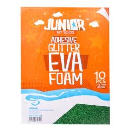 Dekoračná pena A4 EVA 10 ks zelená samolepiaca glitter 2,0 mm
