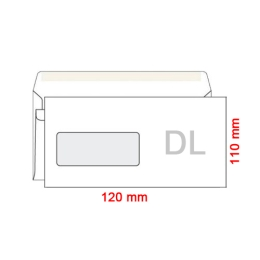 Obálka DL/80 110x120 mm okienko v ľavo