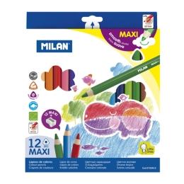 Pastelky MILAN maxi trojhranné 12 ks + orezávatko