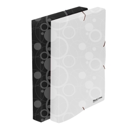 Box na spisy PP s gumou A4, biely (Black&White)