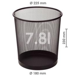 Drôtený kôš na odpadky, čierny 7,8 l