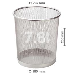 Drôtený kôš na odpadky, strieborný 7,8 l