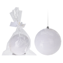 Vianočná guľa - PS biela 120 mm, 1ks