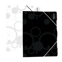 Odkladacia mapa PP 3-chlopňová s gumou A4, biela (Black&White)