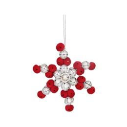 Vianočná dekorácia - červeno/strieborná vločka z rolničiek 11 cm, 1ks