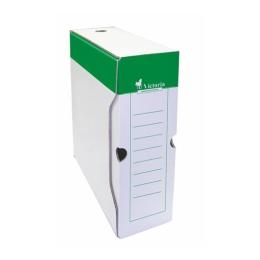 Archívny box, A4, 100 mm, kartón, VICTORIA, zelený-biely