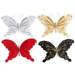 Motýľ na klipe - mix farieb 20 cm, 1ks