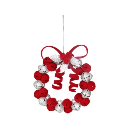Vianočná dekorácia - červeno/strieborný kruh z rolničiek 9 cm, 1ks