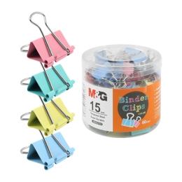 Klip Binder M&G - farebný (15 mm), 60 ks